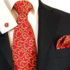 Paul Malone Extra Long Silk Necktie, Pocket Square and Cufflinks Red Gold http://www.yourneckties.com/paul-malone-extra-long-silk-necktie-pocket-square-and-cufflinks-red-gold-5/