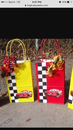 12 Lightning McQueen Favor Bags by FantastikCreations on Etsy Disney Cars Party, Disney Cars Birthday, Car Themed Parties, Cars Birthday Parties, Race Car Birthday, Boy Birthday, Birthday Ideas, Lightning Mcqueen Party, Lightening Mcqueen