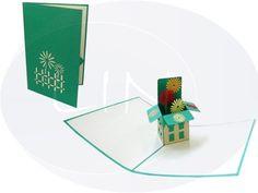 Aufklappbare POP UP Geburtstagskarte mit Blumenbox. Mehr entdecken auf: www.lin-popupkarten.de Pop Up Karten, Box, Holiday, Birth, Flowers, Snare Drum