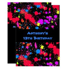 Colorful Neon Paint Splatter Paintball Birthday Card - blue gifts style giftidea diy cyo