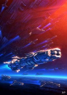 Beyond Distant Nebulae — Amidst Friends by Elias Stern Space Ship Concept Art, Concept Ships, Spaceship Art, Spaceship Design, Stargate, The Stars My Destination, Aliens, Sci Fi Rpg, Arte Sci Fi