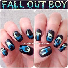 Fall Out Boy Boys of Zummer Tour Nail Art - Lace & Lacquers Crystal Nail Art Emo Nail Art, Dark Nail Art, Nail Art Diy, Cute Nail Art Designs, Creative Nail Designs, Creative Nails, Love Nails, My Nails, Band Nails