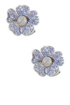 Purple Tanzanite & White Diamond Flower Stud Earrings by Savvy Cie on @HauteLook