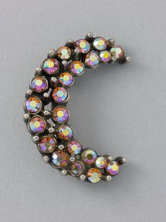 Vintage Aurora Borealis Crescent Moon Brooch by ShinyShelly