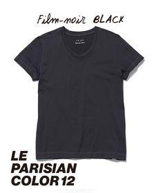 ◆ Film-noir BLACK - フィルムノア・ブラック // パリの街並み、芳しい花々、個性的な女性たち。自信に満ちた美しさには、モノクロームがよく似合う。フランスのモノクロフィルムを思わせる、限りなくグレーに近いブラック。フィルムノア・ブラック。◆ 【 Tシャツ- ROUND-NECK - WOMAN ¥3,900 ※ 税抜】  #lejun #tokyo #paris #europeancomfort #parisiancolor #filmnoirblack #ルジュン #パリジャンカラー #フィルムノアブラック