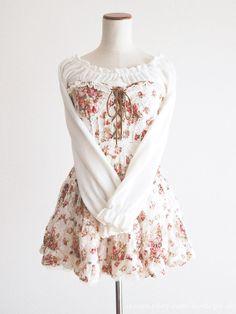 LIZ LISA Floral Off-shoulder Lace-up OP Dress Sweet Lolita Kawaii Japan #LIZLISA #PeplumTunic #Shibuya109fashion
