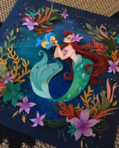 Little mermaid paper art - Quilled Paper Art - Paper Quilling Designs Disney Paper Art Design, 3d Paper Art, Quilled Paper Art, Paper Artwork, Paper Crafts, Paper Cutting Art, Paper Paper, Kirigami, Cut Out Art