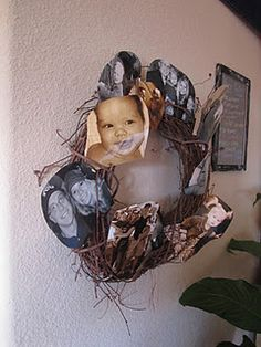 multiple picture display on grapevine wreath
