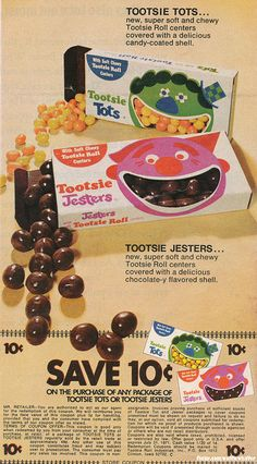 Tootsie Tots / Tootsie Jesters Candy - 1971 by Waffle Whiffer, via Flickr | #retro #vintage #typography