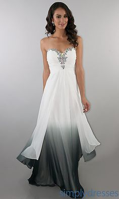 Long Ombre Sweetheart Ruched Dress at SimplyDresses.com