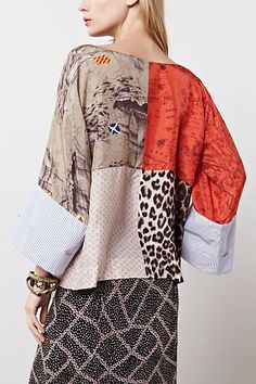Julie Patchwork Blouse - Anthropologie.com mixed fabrics top