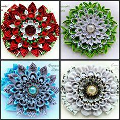Kanzashi Flowers, Baby Headbands, Flowers In Hair, Hair Pins, Ribbon, Hair Accessories, Bows, Handmade, Crafts