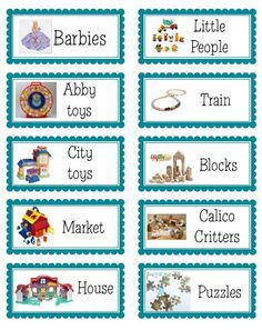 Toy bin labels that are personalized for your kids' toys.  BumbleBaby Mommy: Organization 2012