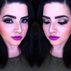 Maquillaje de noche con labios morados!! @aleemiramontes