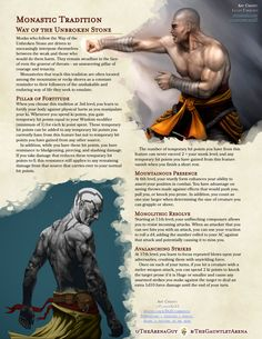 Homebrewing class Way of the Unbroken Stone: Monastic Tradition Dungeons And Dragons Rules, Dungeons And Dragons Classes, Dnd Dragons, Dungeons And Dragons Characters, Dungeons And Dragons Homebrew, Dnd Characters, Fantasy Characters, Monk Dnd, Dnd Character Sheet
