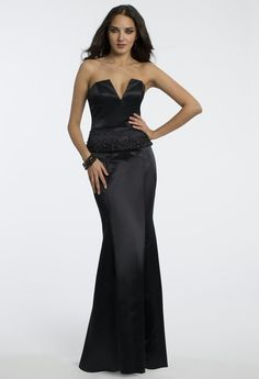 Sexy Long Black Satin Bridesmaid/Evening Gown With Beading At Waist.