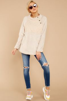 Keep Me Here Cream Pullover I Fall To Pieces, Fuzzy Pullover, Comfy Casual, Boutique Dresses, Sneakers Fashion, Spring Fashion, Winter Outfits, Plush, Skinny Jeans