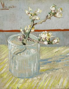 Vincent van Gogh - Sprig of Flowering Almond in a Glass (1888)