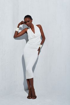 Perfectly draped cowl neck halter dress with plunging back in stretch linen jersey FROM urban zen BY Donna Karan