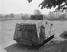 """German A7V captured by company """"A"""" of the 1st Battalion of the British Tank Corps; 04/24/1918"""
