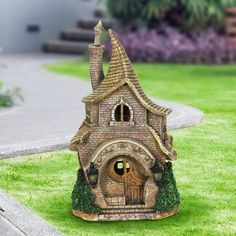 Cute little Whimsical School House Fairy Garden with solar to add to your garden decor.  Wayfair #affiliate #fairygarden #schoolhouse #gardenart