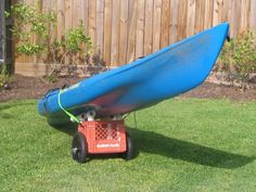 Kayak cart made from milk crate
