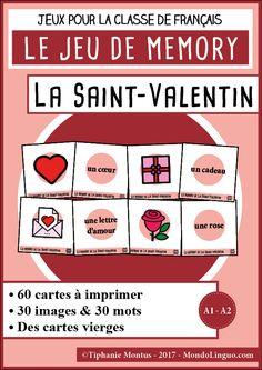 Téléchargez, imprimez et découpez 60 cartes pour jouer au memory de la Saint-Valentin et de l'amour. Contenu du PDF de 7 pages : les règles du jeu 30 cartes illustrées à imprimer 30 cartes-mots à imprimer des modèles vierges