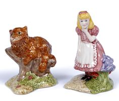 21. A ROYAL DOULTON BESWICK WARE LIMITED EDITION OF ALICE - Mallams  ITEM DESCRIPTION  modelled by Martyn C.R. Alwick, LC2, No. 1874/2500, 11cm; and a similar figure of the Cheshire Cat, LC3, No. 1674/12500, 8cm (2)
