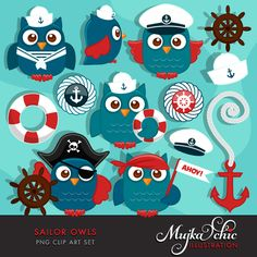 Super cute sailor and pirate owls clipart with lots of sailing accessories. 6 cute owls, captain owl, pirate owl, little sailor owls with cute sailor hats, pirate hat, captain hat. Anchor, sailing icons and other matching elements. Perfect for invitations, party printables and embroidery.
