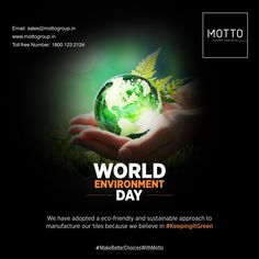We have adopted a eco-friendly and sustainable approach to manufacture our tiles because we believe in #KeepingItGreen Happy World Environment Day..! #Motto #Tiles #mottogroup #Ceramic #FloorTiles #slabtiles #CeramicTiles #CeramicTile #SlabTile #Slab #Tile #Marbles #MarblePlus #EnvironmentDay2021 #Nature #EcoFriendly #SaveEarth #SaveNature International Days, Save Nature, World Environment Day, Marbles, Motto, Sustainability, Tiles, Believe, Adoption