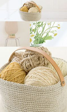 Natural Basket with Leather Strap: free crochet pattern