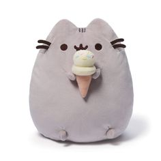 "Pusheen with Ice Cream Cone 9.5"" Plush # 4048872 Gund MOST SOLD ON EBAY #GUND"