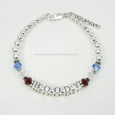 Single Strand Deployment Bracelet® in Sterling Silver with Swarovski crystals and one Sterling Silver Military charm. $69.00  Free shipping.