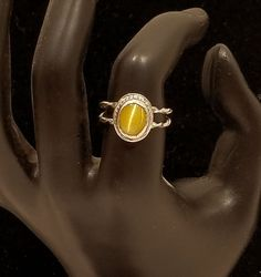 Sterling Silver and Cats Eye Ring,Yellow Cats eye Ring, Silver ring, Gemstone ring, Gemstone jewelry, Silver jewelry,Sterling Silver jewelr