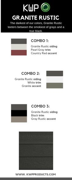 Looking for a dark gray siding to add to your next project? Granite Rustic is the perfect shade to complement a multitude of colors. Want more info? Gray Siding, Exterior Siding Colors, Wood Siding, Rustic Houses Exterior, House Siding, Grey Trim, Rustic Colors, Granite, Dark
