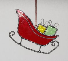 Stained Glass Suncatcher - Santa's Sleigh, Christmas Holiday Ornament, Red or Green Sleigh