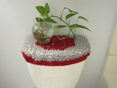 Set Of  Crochet Covers For Toilet Seat  Toilet Tank Lid Cozies - Light grey toilet seat