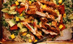 Found! Jamie Oliver. Ahhhh Life will never be the same...Blackened chicken and quinoa salad, adapted from Jamie Oliver's 15-Minute Meals - quinoa, chicken, jalapeño, mango, feta... Mmmmm...