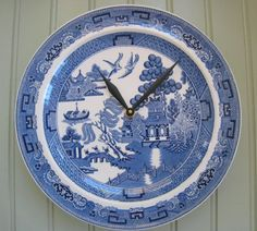 Blue Willow Clock Plate by ThistleandJug on Etsy, $23.00