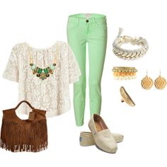 Love the pants, top and jewelry.  Can do without the Toms and fringe though.