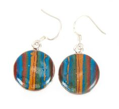 Rainbow Calsilica Earrings via Gemstone Pendants. Click on the image to see more!