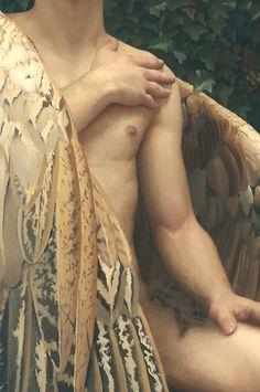 "The Fallen Angel (detail) Arantzazu. - "" The Fallen Angel (detail) Arantzazu Martinez "" Angels Among Us, Angels And Demons, Illustrations, Illustration Art, Male Angels, Pin Up, Male Beauty, Fantasy Art, Creatures"