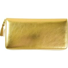Comme Des Garçons Wallet 'Gold' wallet (5,600 MXN) ❤ liked on Polyvore featuring bags, wallets, grey, zipper wallet, zipper bag, metallic wallet, pattern wallet and gold bag