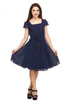 0e1a9e2dfe Color Fuel Women Georgette Blue Dress