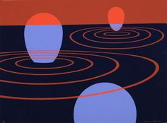 Clarence Holbrook Carter (1904-2000), Blue and Red Space (1971), screenprint, 75 x 56 cm. Via 1stdibs.
