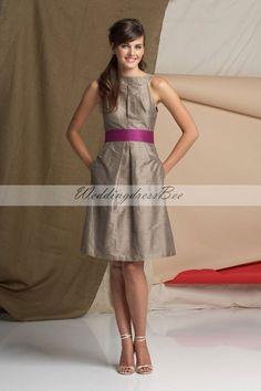 High neck A-line taffeta bridesmaid dress