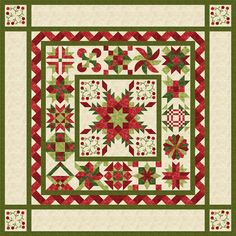 Cherries Jubilee, red and green BOM quilt, designed by Project House 360 as seen at Stitchin' Heaven