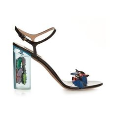 Valentino Camu Butterfly embellished plexiglass sandals (51.170.455 VND) ❤ liked on Polyvore featuring shoes, sandals, heels, black multi, black heel shoes, heeled sandals, black patent leather sandals, patent sandals and black shoes