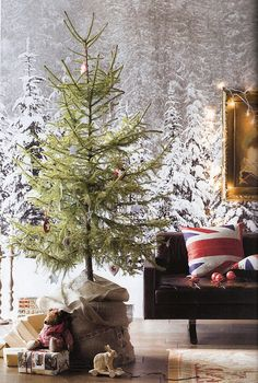 Union Jack pillows in a Christmas scene