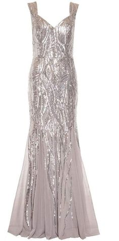 Silver Sequin Sweetheart Fishtail Maxi Dress #wedding #bridesmaid #dress